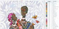 laboresdeesther Punto de cruz gratis : Familia Africana con bebe