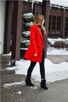 #red #coat #outfit #style