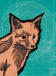 Items similar to Fox Print - Baby Fox Drawing with Turquoise - Fox Art - 5 x 7 on Etsy Illustrations, Illustration Art, Fox Collection, Fox Drawing, Fox Print, Red Fox, Linocut Prints, Baby Prints, Spirit Animal