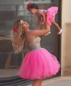 hot pink beaded prom dresses short mother and daughter matching dresses toddler little girl dresses (price is for both dresses) Mother Daughter Matching Outfits, Mother Daughter Fashion, Mommy And Me Outfits, Mom Daughter, Girl Outfits, Mother Daughters, Baby Girl Party Dresses, Little Girl Dresses, Baby Dress