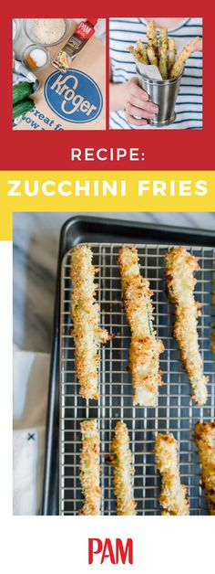 When it comes to making your own fries, crunch is key. Get that perfect golden-brown crust—without any sticking—when making these Homemade Zucchini Fries with help from PAM® Spray Pump Canola Oil! Whether you serve up this dish as a savory snack or tasty side dish, you won't believe how easy this recipe can be. Plus, you can find everything you need to make this dish at Kroger today! Zucchini Fries, Veggie Fries, Side Dish Recipes, Side Dishes, Low Carb Recipes, Healthy Recipes, Cooking Recipes, Vegetable Dishes, Vegetable Recipes