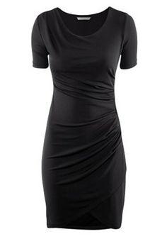 Black Draped Short Sleeve Skinny Cotton Dress