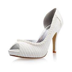 Satin Women's Wedding Stiletto Heel Peep Toe Sandals – USD $ 49.99