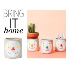 """""""Bring It Home: Group Partner Face Pot for Poketo"""" by polyvore-editorial ❤ liked on Polyvore featuring interior, interiors, interior design, home, home decor, interior decorating, Poketo and bringithome"""