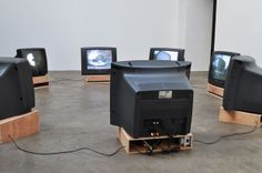 Nevin Aladag, City Language II (2009); Video installation with 8 monitors from 2 min to 4 min each, 2012,