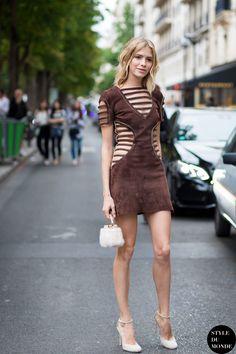 because that dress is sooo interesting. Lena in Paris. #ElenaPerminova