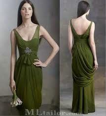 White by Vera Wang - v-neck sleeveless chiffon column dress in moss green