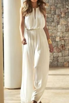 Elegant Solid Colors White Jumpsuit Summer Women Sleeveless High Waist Loose Trousers Wedding Party Style Casual Commute Pants Cute Maxi Dress, Chiffon Maxi Dress, The Dress, Prom Dress, Gown Dress, Best African Dress Designs, Best African Dresses, Elegant Wedding Dress, Best Wedding Dresses