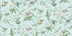 Hummingbirds  (100/14069) - Cole & Son Wallpapers - One of the most iconic designs from Cole & Son, the wallpaper has been re-introduced in two brand new colourways. The design features fluttering birds on delicate trailing foliage. Shown here in various colours on a soft blue background. Other colourways are available. Please request a sample for a true colour match. Paste-the-wall product.