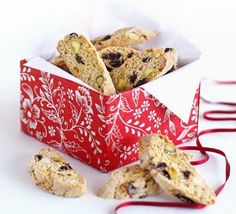 Fruity Christmas biscotti. The perfect make-ahead gift, these will keep for up to a month after baking and look really impressive.