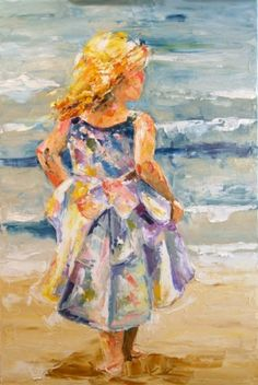 'At the Ocean' Child portrait on the Beach by Texas Artist Laurie Justus Pace, painting by artist Laurie Justus Pace