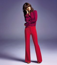 Helena Christensen wears Blouse, £35, and Trousers, £45, both Principles by Ben de Lisi at Debenhams; Boots, £69, Faith at Debenhams