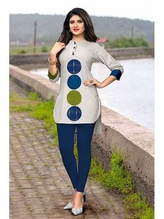 Traditional Kurtis - Shop New Design In Kurti @ Gunj Fashion Grey Color Flax Cotton Patch Work Traditional Kurtis Get this grey color patch work cotton kurti which is perfect for college wear. African Blouses, African Fashion Ankara, African Shirts, Latest African Fashion Dresses, African Dresses For Women, African Print Fashion, Africa Fashion, African Attire, African American Fashion