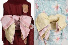 桜の花びらのような淡いパウダリーピンクにコーラルローズの市松パターンが形作る大胆な立涌縞が織りだされた化繊の半幅帯です。