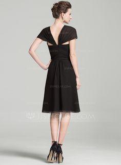 A-Linie/Princess-Linie V-Ausschnitt Knielang Chiffon Kleid für die Brautmutter mit Rüschen (008080179)