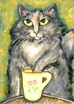 Calico Tortie Cat Drinking Tea Painting at ArtistRising.com