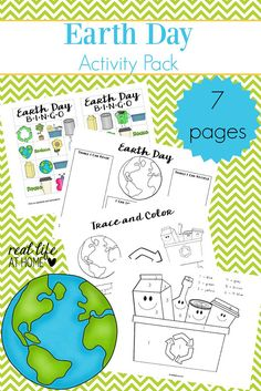 Looking for Earth Day printables for preschool and elementary kids? Download this free seven page Earth Day worksheets and games packet.