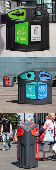 Nexus® 200 Outdoor Recycling Bins are ergonomic and versatile, collecting two waste streams in a single, space-saving unit. #GlasdonUK #External #Recycling #Bins  #WRAP #Defra #RecyclingStation #Recycle #RecyclingBins
