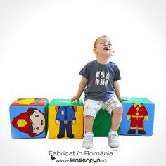 Setul format din 4 cuburi mari, usor de manevrat de catre copii, dezvolta creativitatea, imaginatia si jocul logic prin posibilitatea aranjarii elementelor in asa fel incat sa formeze cele 6 meserii afisate: bucatar, doctor, postas, politist, pompier si constructor. • Producător: Kinderfun™ Soft Play România Style, Fashion, Cots, Shape, Swag, Moda, Fashion Styles, Fashion Illustrations, Outfits