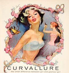 Vintage ad for 'Curvallure' Bras by Jantzen, So beautiful! Pub Vintage, Vintage Bra, Vintage Swim, Vintage Lingerie, Vintage Glamour, Vintage Style, Vintage Ladies, Vintage Fashion, Old Advertisements
