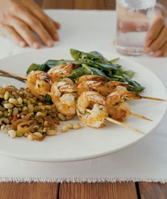 Herb Grilled Shrimp and Wilted Spinach With Fennel|