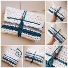 This Pin was discovered by Lea Diy Crochet Bag, Crochet Clutch, Crochet Purses, Love Crochet, Learn To Crochet, Knit Crochet, Crochet Designs, Crochet Patterns, Yarn Bag