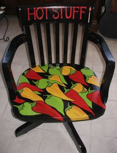 Hot Stuff chili pepper painted chair