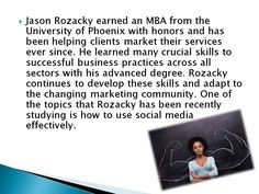 Jason Rozacky has over 20 years of experience developing and implementing marketing strategies. Marketing Strategies, University, Management, Success, Learning, Business, Videos, Studying, Teaching