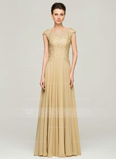 A-Line/Princess Scoop Neck Floor-Length Chiffon Lace Mother of the Bride Dress With Beading Sequins (008062561) - JJsHouse.  $150