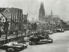 Cologne Harbor -- Photo by August Sander, 1938 August Sander, Cologne Germany, Getty Museum, Gelatin Silver Print, Beautiful Buildings, Landscape Photographers, Country Roads, Black And White, History