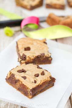 Whole Grain Cookie Dough Bars via @carly k. Edwards - how amazing and gooey do these look?!