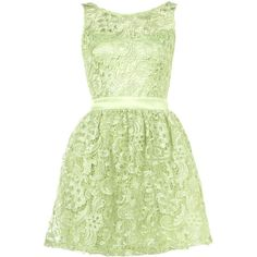 Lipsy Waxed Lace Prom Dress ❤ liked on Polyvore featuring dresses, vestidos, green, платья, pastel prom dresses, green cocktail dress, lace dress, pastel green dress and pastel lace dress
