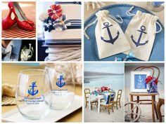 """Beach wedding favors and nautical seaside theme favors. """"Voyages"""" Anchor Muslin Favor Bag (Set of 12) """"Personalized"""" Stemless Wine Glass"""