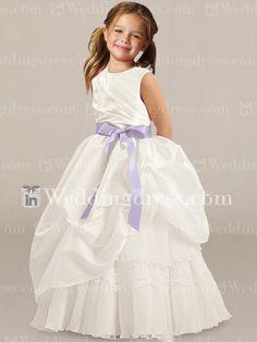 Taffeta Flower Girl Dress_Light Ivory/Lavender