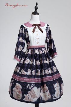 Penny House -My Cute Cats- Sweet Lolita Peter Pan Collar Mid-length Sleeves Lolita OP Dress