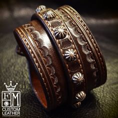 Leather Wrist Cuff Dirty BrownTraditional American by mataradesign