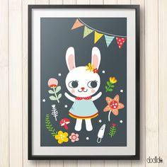 Kids poster, animal print, nursery poster,scandinavian style by Dodlido