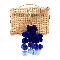 Nannacay Baby Roge with Pompoms (55 KWD) ❤ liked on Polyvore featuring bags, handbags, woven straw bag, blue handbags, blue purse, hand bags and pom pom handbag