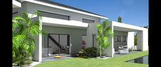 Maison d'architecte contemporaine à tuiles noires et grande terrasse couverte
