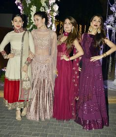 The gang of girls Karisma Kapoor, Kareena Kapoor, Amrita Arora and Malaika Arora Khan pose for the shutterbugs at Manish Malhotra's niece Riddhi's sangeet. #Bollywood #Fashion #Style #Beauty