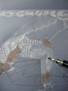 repujando vestido de la novia