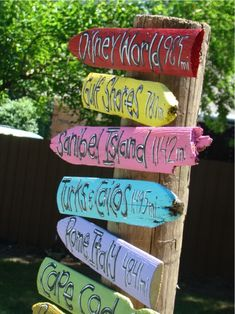 Signs for your backyard showing all of the places you have been together.