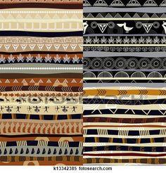 satz, von, stammes-, primitiv, afrikanisch, muster Große Illustration anschauen
