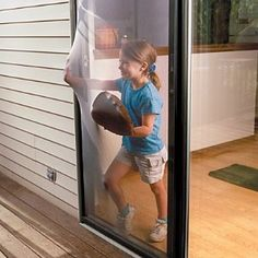 Replace your ripped screen door with this genius flexible screen door that is resistant to tearing, sagging or pets clawing. The perfect screen for kids! Flexible Screen, Screen Material, Mesh Screen, Screen Doors, Door Kits, Space Saving Storage, Home Gadgets, Childproofing, Cool Inventions