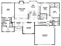 One Story Ranch House Plans | Traditional One Story (HWBDO13921) | Ranch House Plan from ...