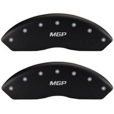 Front Set 2 MGP Caliper Covers, 14212Fmgpmb, Engraved Front: MGP, Matte Black Powder Coat Finish, Silver Characters