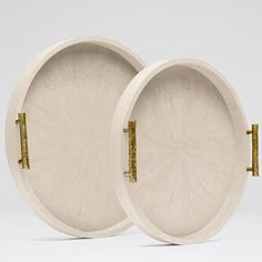 """Round shagreen tray set with organic textured handles.-20"""" and 16.5 """" (for ottoman)"""
