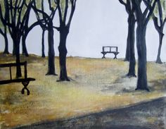 Parc Rue de Constantine in November', acrylic on canvas, HIawyn Oram 2013, SOLD