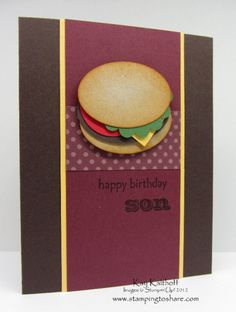 Hamburger punch art....super cute for masculine card