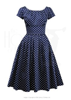 1960s Madmen style Lucy Dress in navy polka dot